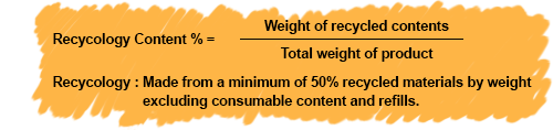 "recycology content percentage is ""weight of recycled content divided by total weight of product"". These products are made from a minimum of 50%."